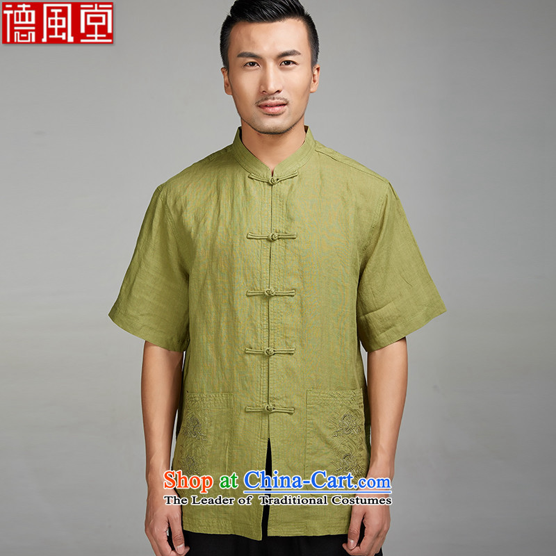 Fudo-yuk should,?by 2015, older men linen Tang dynasty short-sleeved shirt embroidery summer China wind large Chinese clothing yellow and green?L