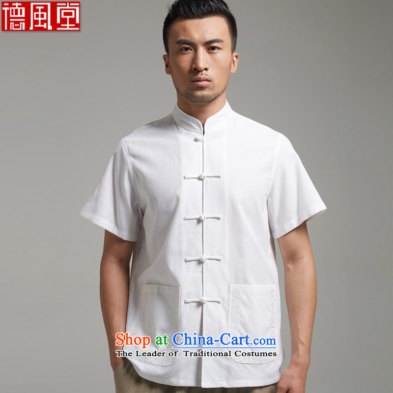 De Fudo High Energy?2015 Cotton Men Tang dynasty short-sleeved shirt with tie up Chinese embroidery chic facade Chinese clothing White?4XL