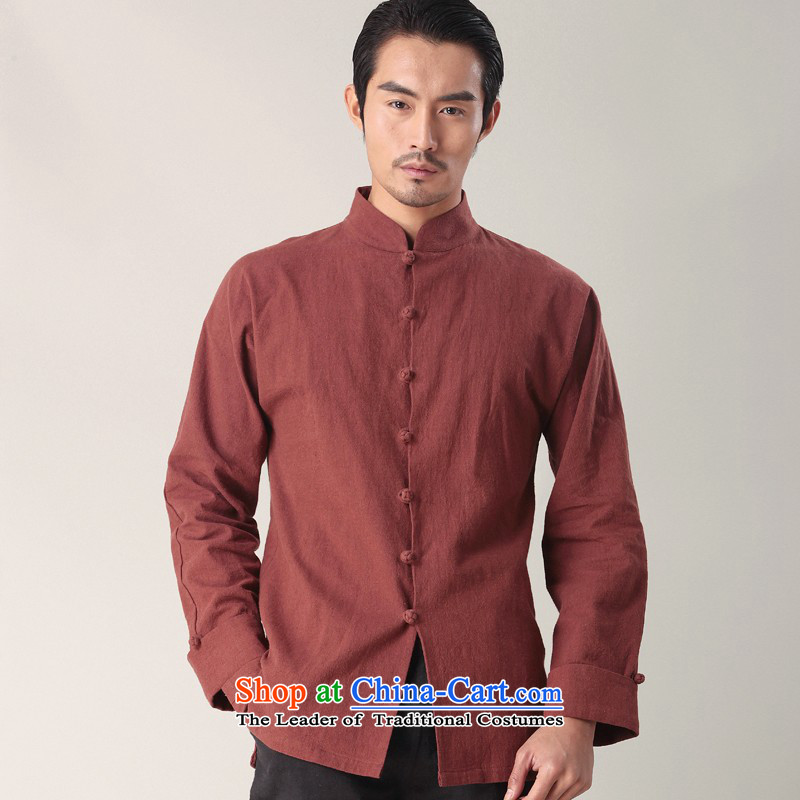 Hee-yong new snapshot of the Tang dynasty men's long-sleeved shirt with the forklift truck cotton linen china wind stylish multi-colored shirt collar Magenta�XL