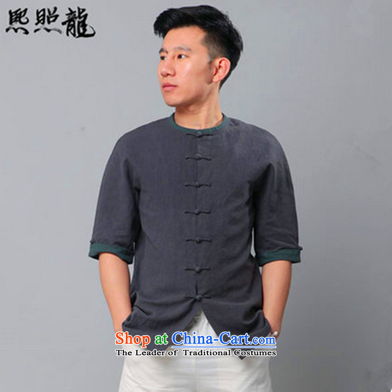Hee-snapshot lung classic New Tang dynasty male short-sleeved knocked color round-neck collar short-sleeved shirt cotton linen china wind carbon S