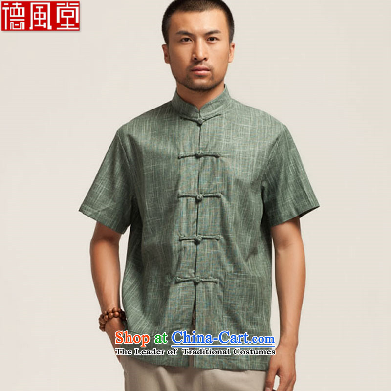 De Fudo green fields 2015 Tang dynasty linen male short-sleeved shirt manually disk summer Chinese Tie China wind men Chinese clothing dark green L