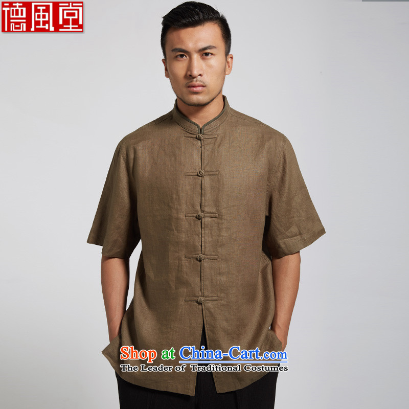 Fudo Pik-Ha Tak?2015 summer short-sleeved linen Tang dynasty male in his shirt-sleeves for summer collar Chinese comfortable Chinese clothing?XXXL Army Green