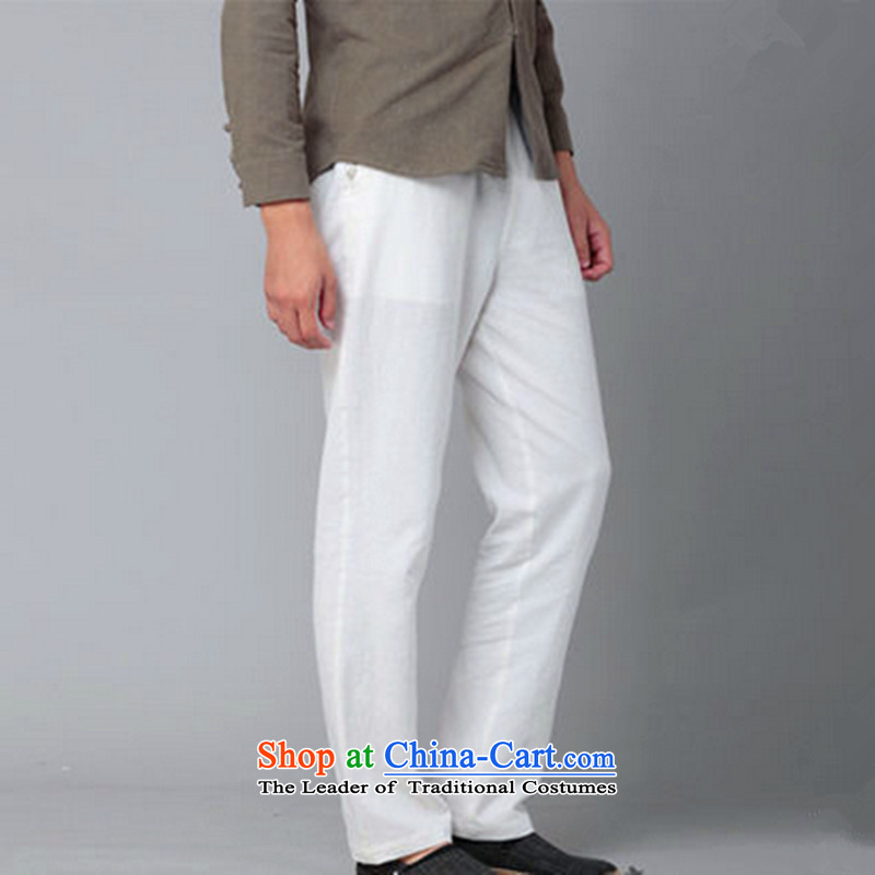 Hee-Snapshot Dragon Chinese Wind Pants and leisure cotton linen trousers with a straight Chinese men casual trousers, white?S
