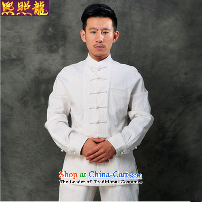 Hee-Snapshot Lung Men Tang long-sleeved shirt with cotton linen collar tray snap Chinese clothing retro NEW SHIRT White�XL