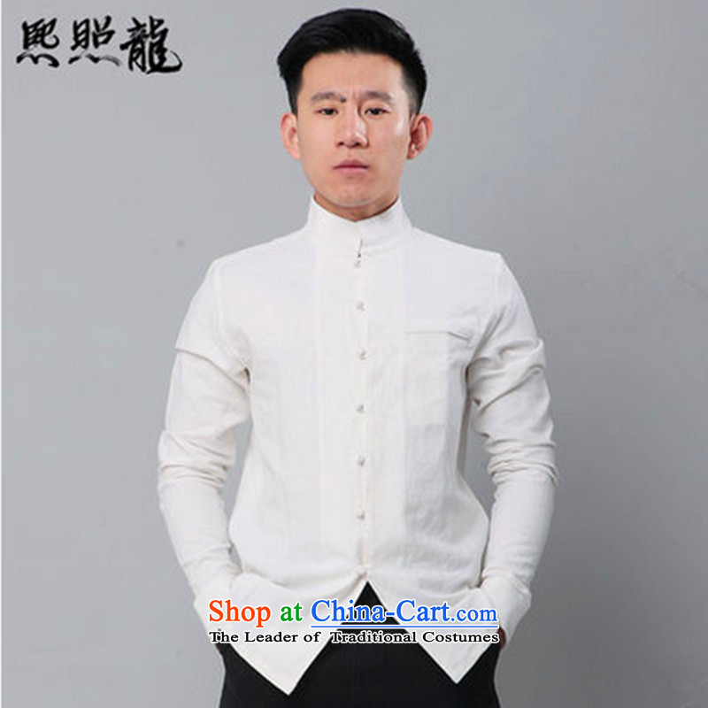 Hee-snapshot lung washed cotton linen china wind Stylish spring and autumn, Sau San Men long-sleeved shirt popular white shirt men聽S