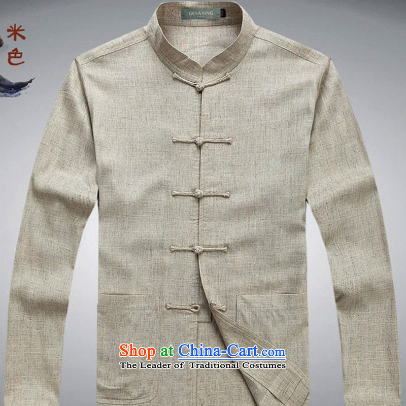 Genuine men on cotton linen cuff Tang Dynasty Package Men's Mock-Neck manual disk Chinese Tie long-sleeved Tang Dynasty Package on cotton linen cuff how many leisure wears the optional package khaki?M_170