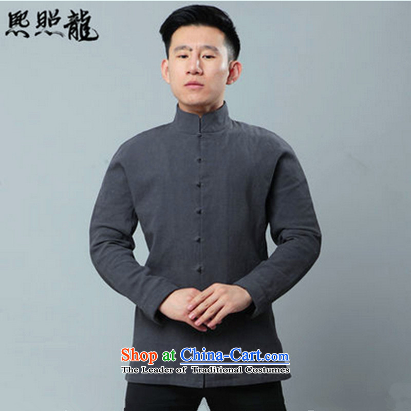 Hee-yong new snapshot of the original cotton linen collar Tang Dynasty Chinese men's shirts even rotator cuff national men's carbon?M