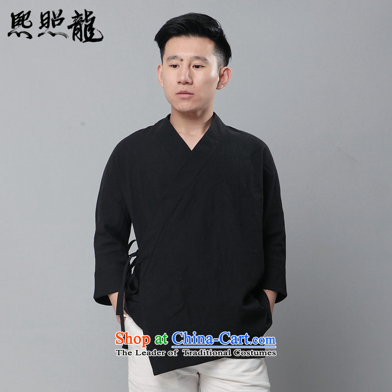 Hee-snapshot lung new cotton linen cloth Han-line ball-decorated and improved services is traversed by the black shirt relaxd?XL