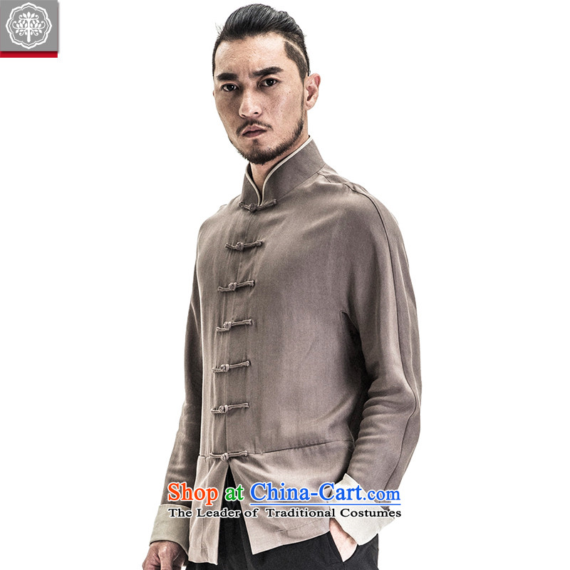 To Tang dynasty China wind tree men long-sleeved jacket Chinese collar Sau San disk detained men spring and summer in New withered gray _M