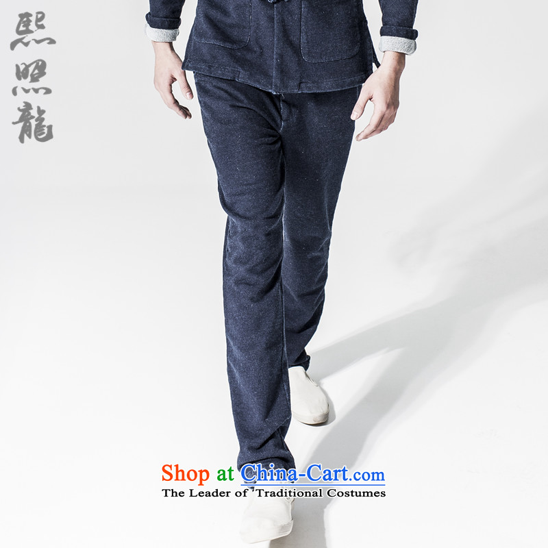 Hee-snapshot lung original stylish elastic waist jeans China wind in Waist Trousers micro pop-color castor cowboy blue trousers?M