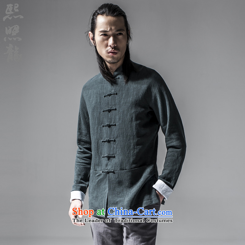 Hee-Snapshot Dragon 2015 new Chinese Han-Tang dynasty China Wind Jacket Taegeuk Service Men's Shirt Chinese Men's Mock-Neck dark green L