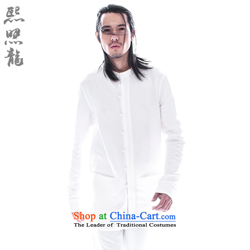 Hee-Snapshot Dragon 2015 China wind spring and autumn new Chinese shirt collar men long-sleeved shirts and stylish sleek Chinese White聽S