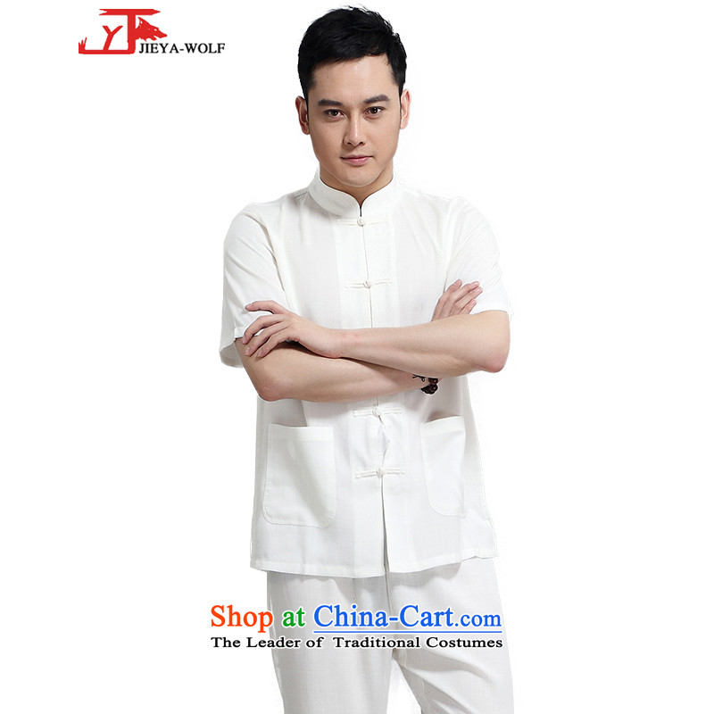 - Wolf JIEYA-WOLF, New Package Tang dynasty men's short-sleeved advanced cotton linen summer pure color minimalist, China wind men loaded, Kane mine-white A 170/M