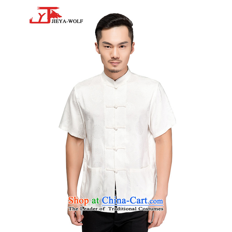 - Wolf JIEYA-WOLF, Tang dynasty men's short-sleeved T-shirt silk dome jubilee summer pure color, China wind manually loaded male ODDS聽170_M White
