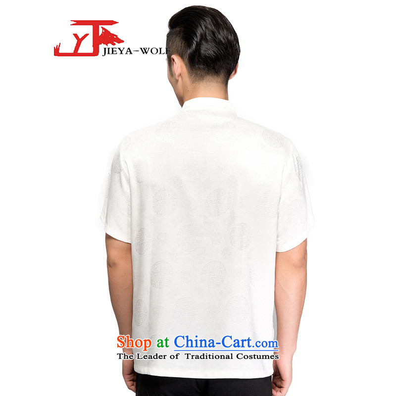 - Wolf JIEYA-WOLF, Tang dynasty men's short-sleeved T-shirt silk dome jubilee summer pure color, China wind manually loaded male odds white聽170/M,JIEYA-WOLF,,, shopping on the Internet