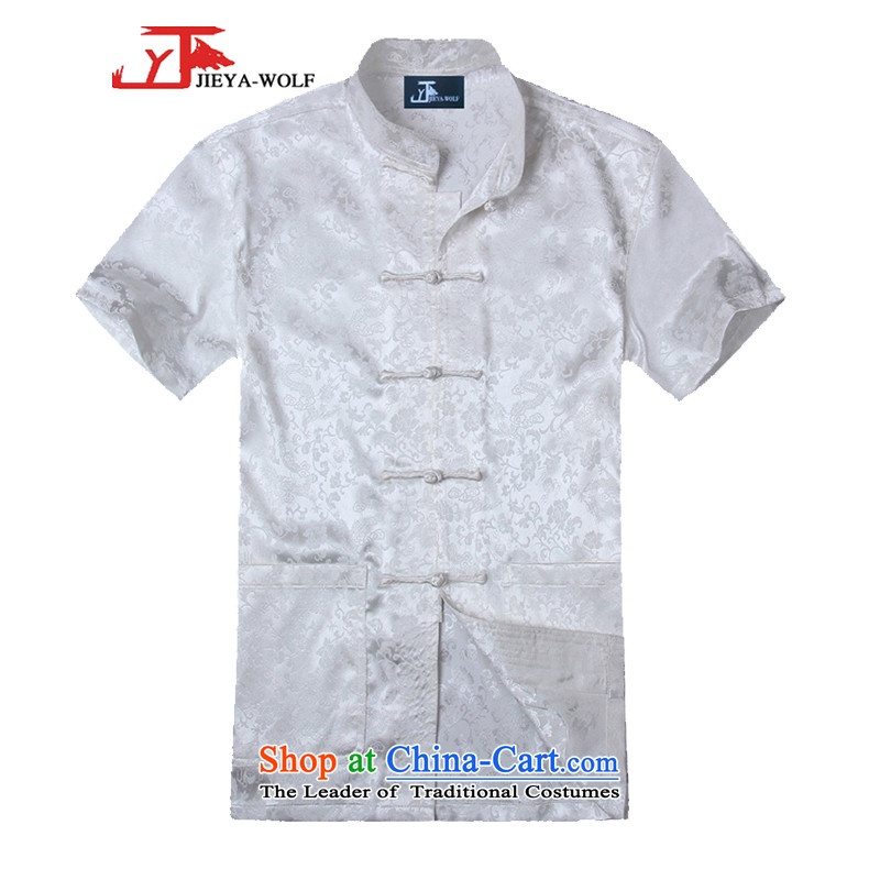 - Wolf JIEYA-WOLF, New Tang dynasty men's summer short-sleeved silk golden dragon figure handcrafted disc players, set port pants a�170/M white T-Shirt