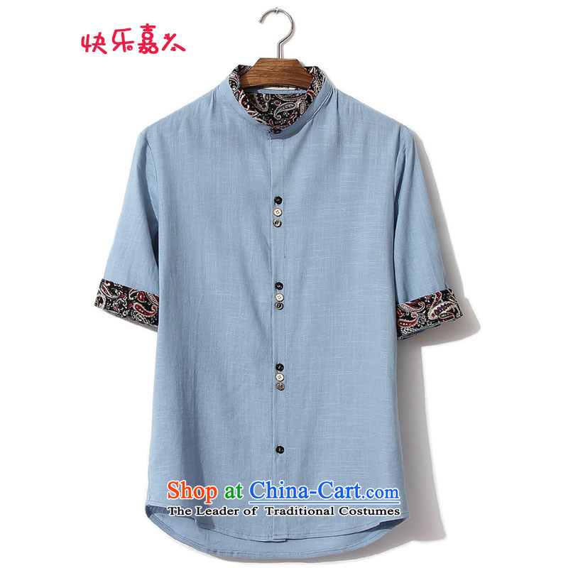 Card west of ethnic collar to increase short-sleeved shirt linen code large fifth?DC8835 sleeved shirt,?blue?L