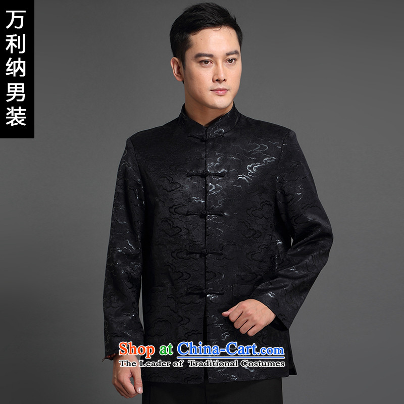 Million, 2015 autumn and winter new products men's jacket from older Tang business and leisure wedding dresses embroidery China wind long-sleeved thick black _Tang cotton waffle 185_XXL__