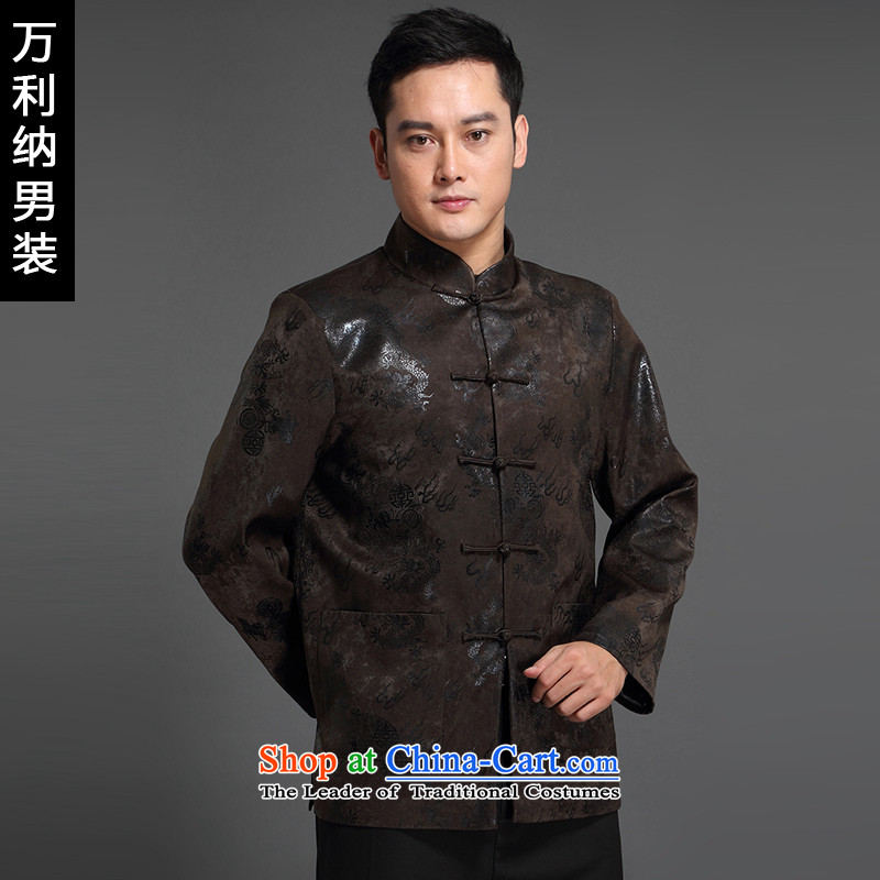 The 2015 autumn million new products in older men Tang dynasty China Wind Jacket collar long-sleeved embroidery Tang dynasty male W1518 coffee-colored (cotton waffle 170(L))