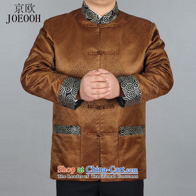 The elderly in the euro Beijing long-sleeve sweater in Tang Dynasty during the spring and autumn New Men, Tang blouses Tang Dynasty Chinese men's jackets gold聽XL