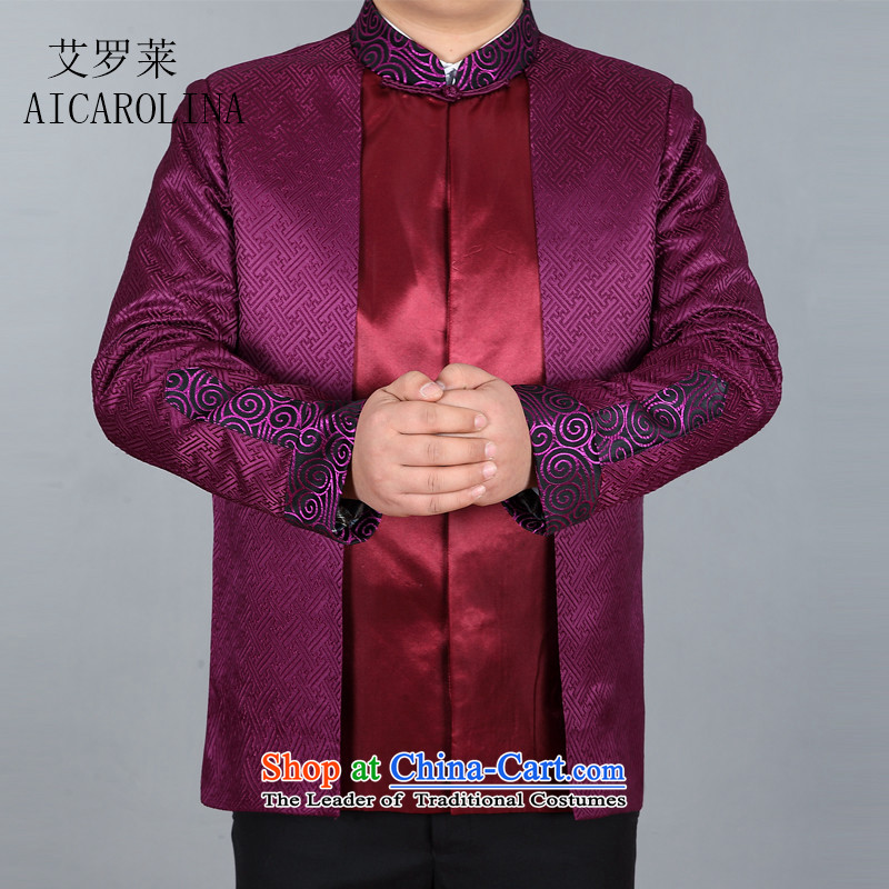 Hiv Rollet New Spring Mens long-sleeved shirt silk shawls even cuff jacket purple?XL