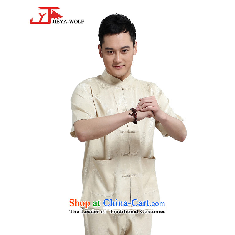 - Wolf JIEYA-WOLF, New Package Tang dynasty men's short-sleeved advanced silk summer, auspicious millennium figure for men with short-sleeved T Tang 165/S set