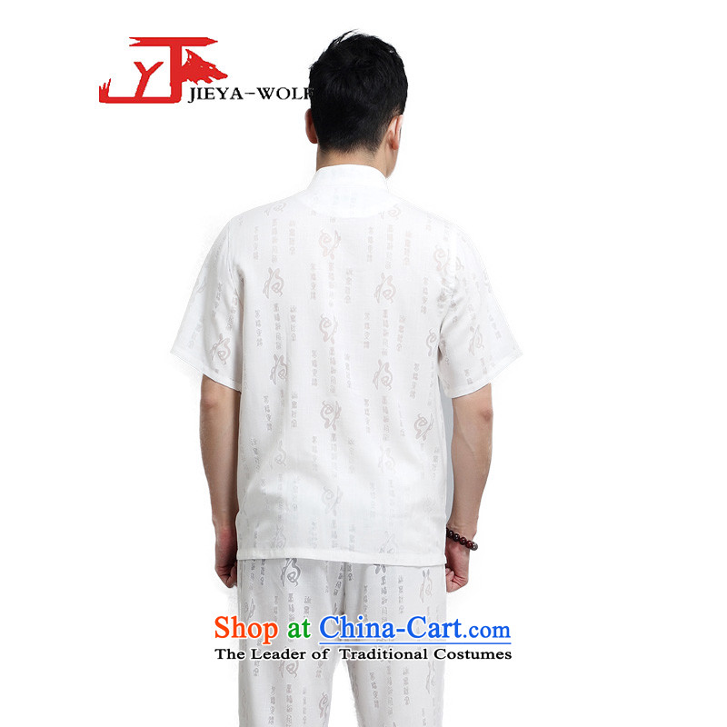 - Wolf JIEYA-WOLF, New Package Tang dynasty men's short-sleeved advanced thin cotton linen well field in the summer of pure colors of Chinese Wind loading white聽185/XXL,JIEYA-WOLF,,, men shopping on the Internet