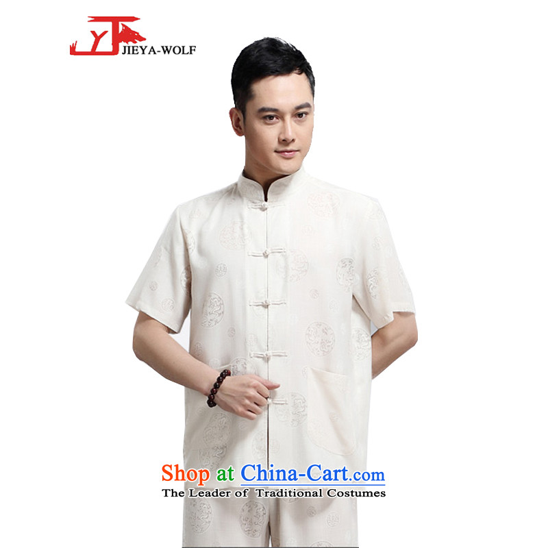 - Wolf JIEYA-WOLF, New Package Tang dynasty men's short-sleeved advanced thin cotton linen round dragon summer pure color, China wind men loading聽190_XXXL yellow