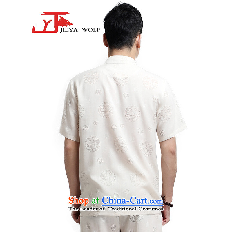 - Wolf JIEYA-WOLF, New Package Tang dynasty men's short-sleeved advanced thin cotton linen round dragon summer pure color, China wind men loading yellow聽190/XXXL,JIEYA-WOLF,,, shopping on the Internet