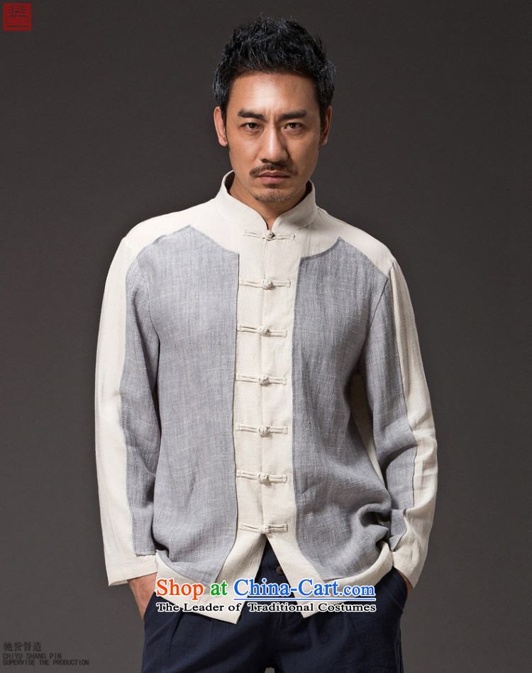 Renowned China wind Cheongsams Men long-sleeved shirt Sau San Chinese linen Men's Shirt clip and the Spring and Autumn period is light gray T-shirt (2XL) jumbo picture, prices, brand platters! The elections are supplied in the national character of distribution, so action, buy now enjoy more preferential! As soon as possible.