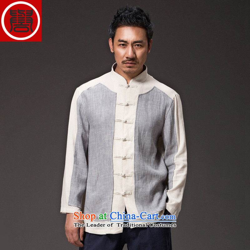 Renowned China wind Cheongsams Men long-sleeved shirt Sau San Chinese linen Men's Shirt clip and the Spring and Autumn period is light gray jumbo (2XL) T-Shirt