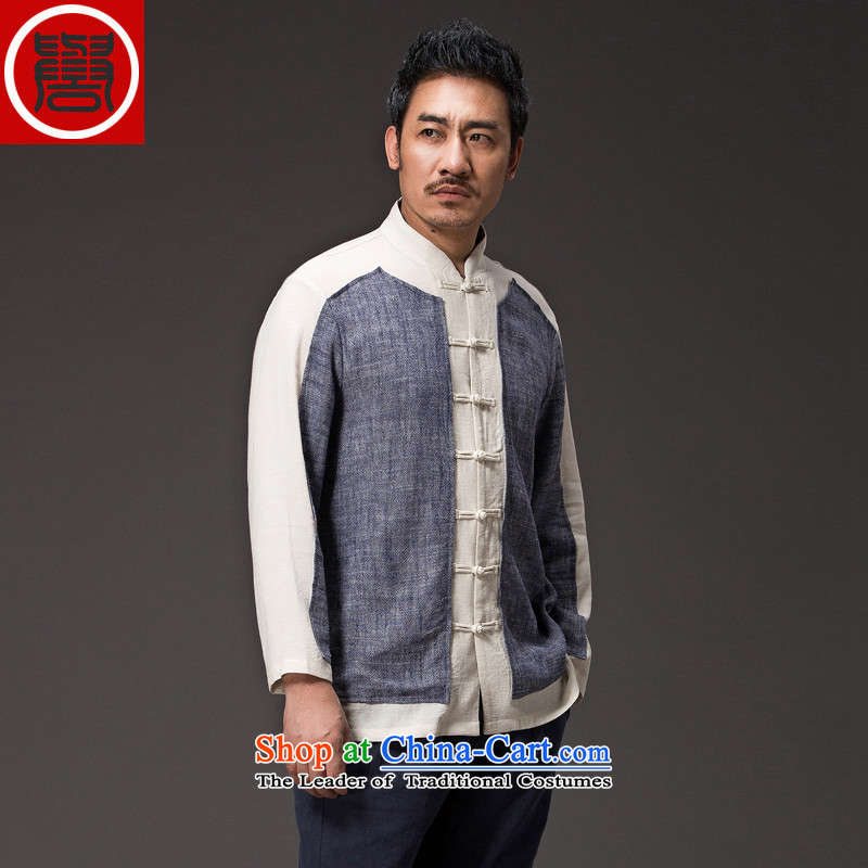 Renowned China wind Cheongsams Men long-sleeved shirt Sau San Chinese linen Men's Shirt clip and the Spring and Autumn period is light gray T-shirt jumbo (2XL), renowned (CHIYU) , , , shopping on the Internet