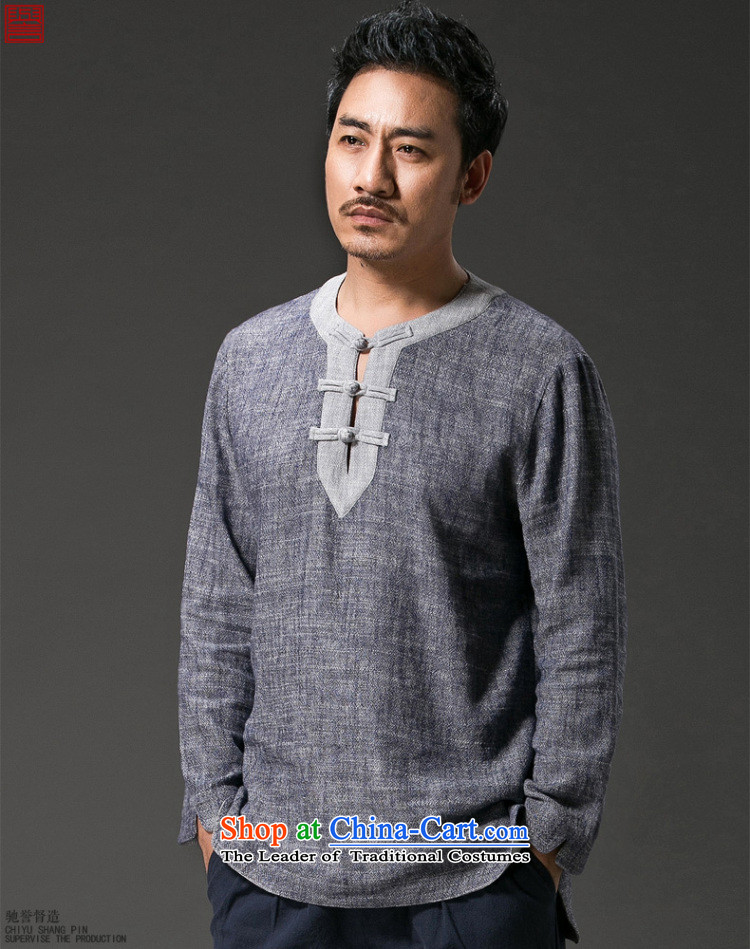 Renowned China wind Men's Shirt long-sleeved T-shirt with round collar disc detained Tang dynasty linen round-neck collar compassionate leisure retro Men's Shirt Han-Dark gray large XL Photo, prices, brand platters! The elections are supplied in the national character of distribution, so action, buy now enjoy more preferential! As soon as possible.