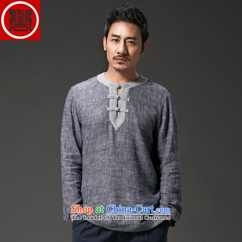 Renowned China wind Men's Shirt long-sleeved T-shirt with round collar disc detained Tang dynasty linen round-neck collar compassionate leisure retro Men's Shirt Han-Dark gray large XL
