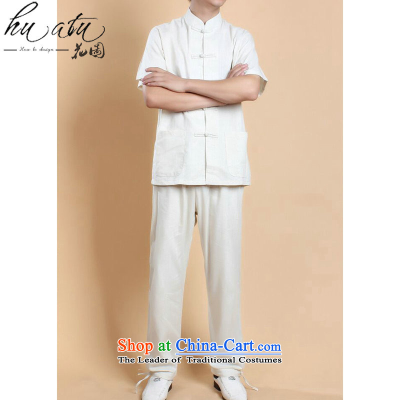 Figure for summer flowers New Men Tang Dynasty Chinese shirt national men will Kung Fu Tang dynasty cotton linen clothes short-sleeve packaged all white?3XL Kit