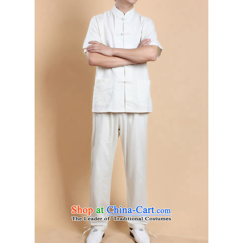 Dan smoke summer New Men Tang Dynasty Chinese shirt national men will Kung Fu Tang dynasty cotton linen clothes short-sleeve packaged all white�L Kit