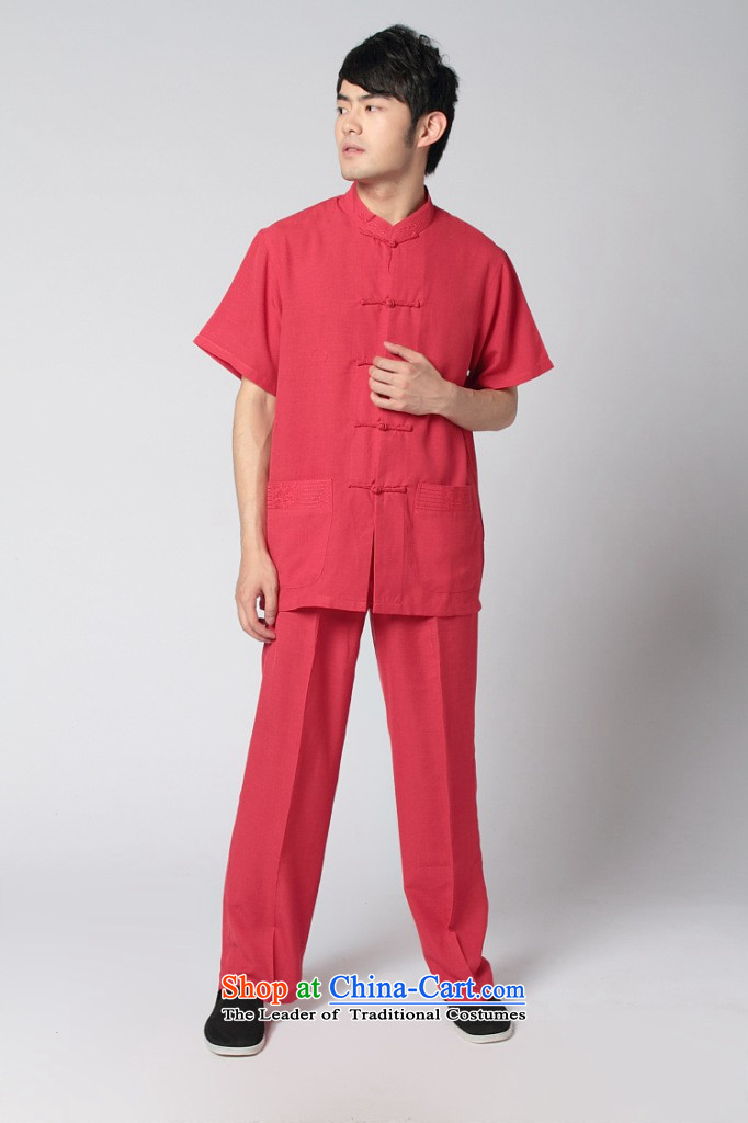 Dan smoke summer new men short-sleeved Tang Dynasty Taiji Kungfu shirt 4.5-60s service the sandbag soft cotton linen satin short-sleeve kit, wine red and black trousers Kit packaged聽3XL picture, prices, brand platters! The elections are supplied in the national character of distribution, so action, buy now enjoy more preferential! As soon as possible.