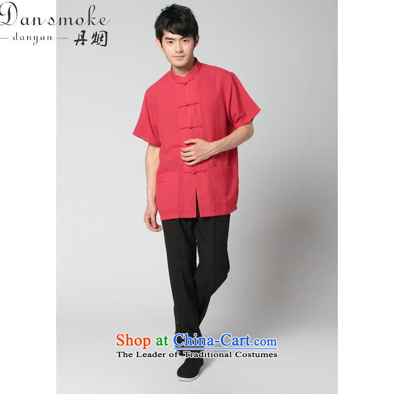 Dan smoke summer new men short-sleeved Tang Dynasty Taiji Kungfu shirt 4.5-60s service the sandbag soft cotton linen satin short-sleeve kit, wine red and black trousers kit?3XL Kit