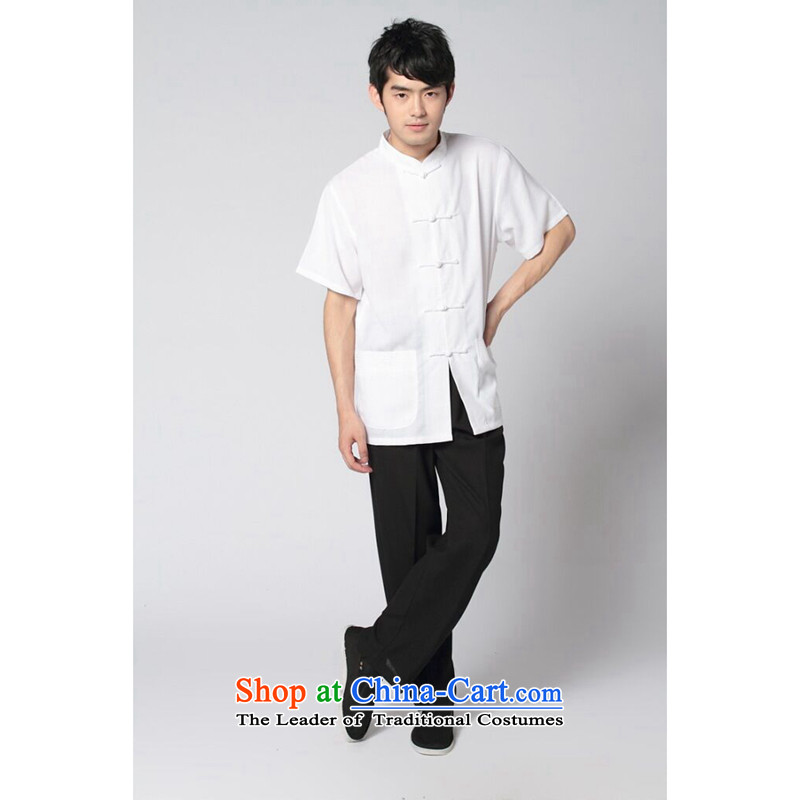 Tang Dynasty and floral summer new short-sleeved Tang Dynasty Tai Chi Kung Fu Services Package Chinese collar 4.5-60s soft cotton linen of the Tang dynasty and black trousers Kit聽L