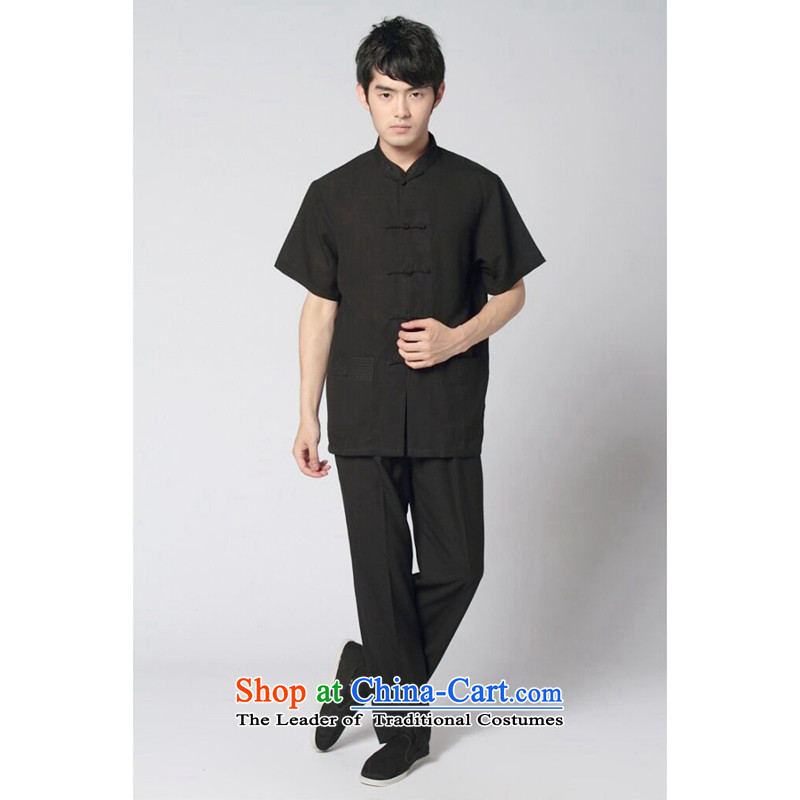 Floral Short-Sleeve Men Tang dynasty summer new Chinese collar Taegeuk services cotton linen solid color shirt comfort kit kung fu black�L