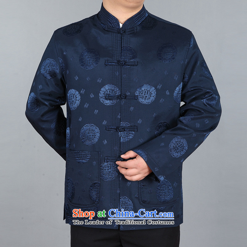 Kanaguri Mouse China wind spring and autumn New Men well field in the Tang older T-shirt dark blue long-sleeved sweater�L
