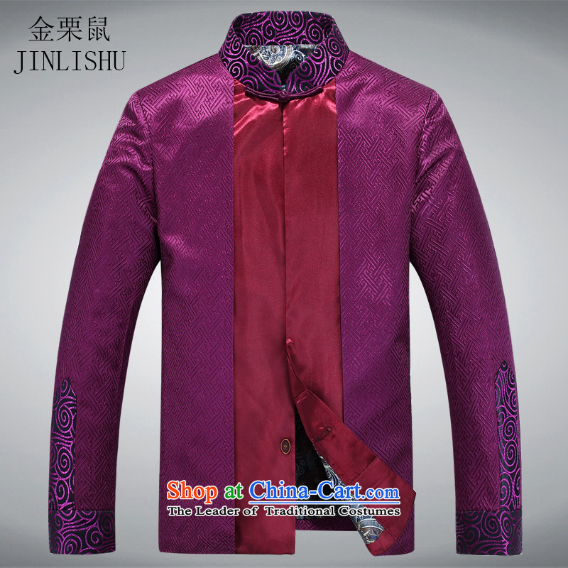 Kanaguri Mouse New Men shawl Tang dynasty long-sleeved shirt collar clothing Tang dynasty China wind long-sleeved sweater燲XXL Purple