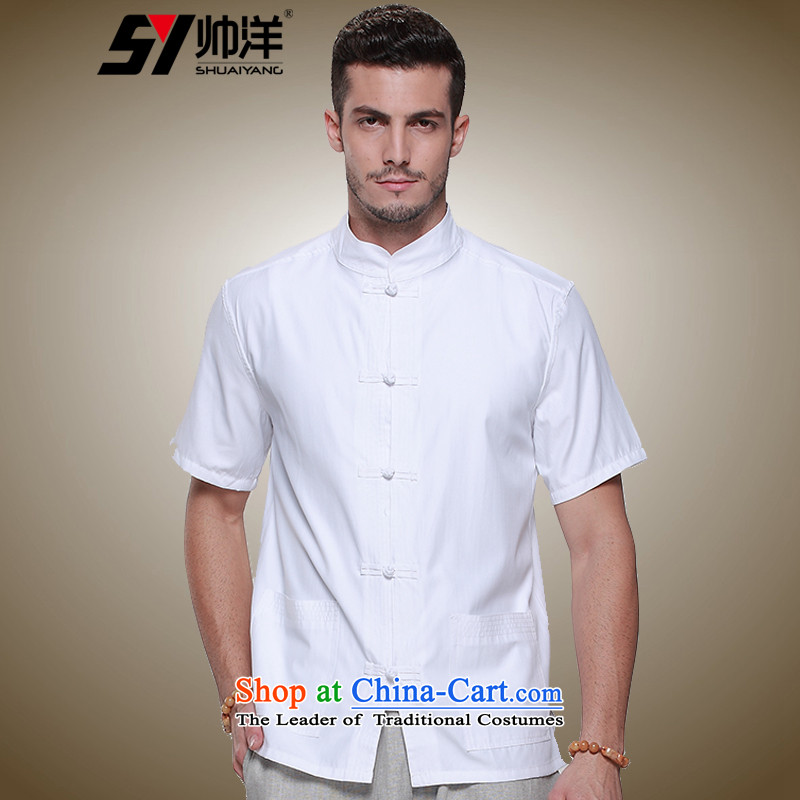 The new 2015 Yang Shuai men Tang dynasty short-sleeved T-shirt summer Chinese tunic, elderly men national costumes China wind up detained men's shirts, Retro collar China wind white 42_180