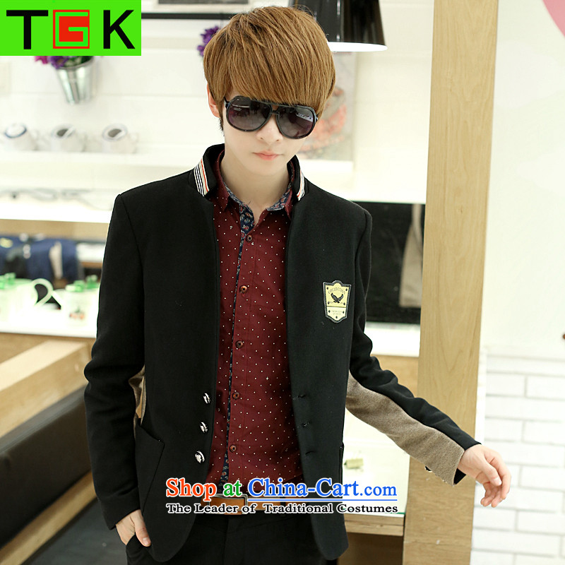 Tgk New Men Chinese tunic suit leisure suit male adolescents small Korean-spring coat and Sau San Chinese tunic?XXXL black