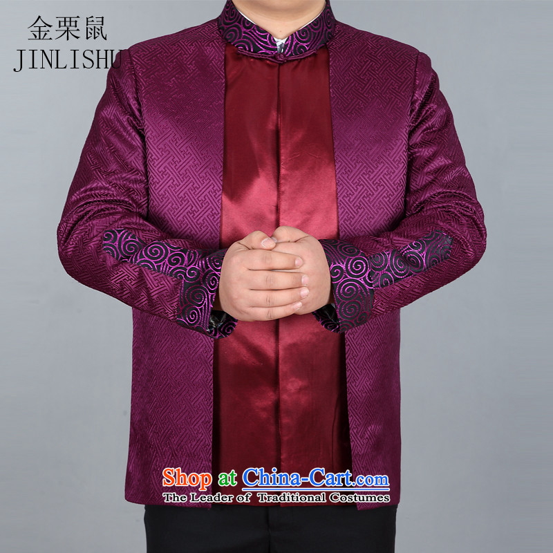 Beijing New products during the spring and autumn and the OSCE Tang dynasty long-sleeved jacket Tang Chinese elderly in the leisure men聽XXXL Purple