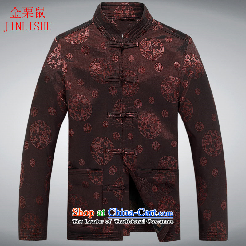 Kanaguri mouse spring and fall New Men Tang jackets in older Men's Mock-Neck national costumes Tang dynasty coffee-colored燤