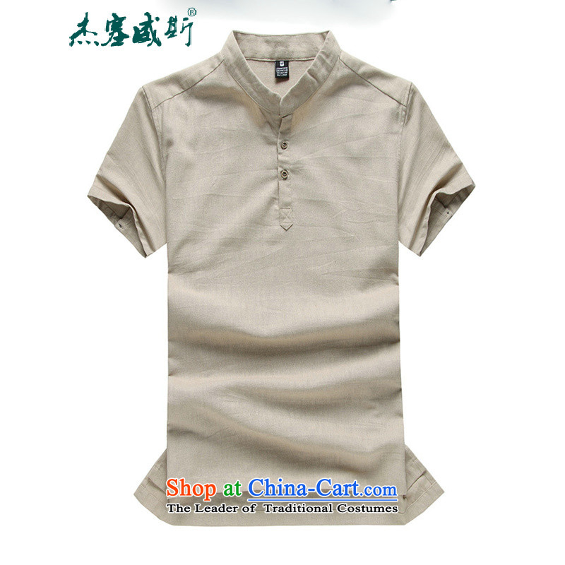 C.o.d. Jie in the summer of men linen short-sleeved large relaxd thin cotton linen collar short-sleeved shirt Tang dynasty beige燤