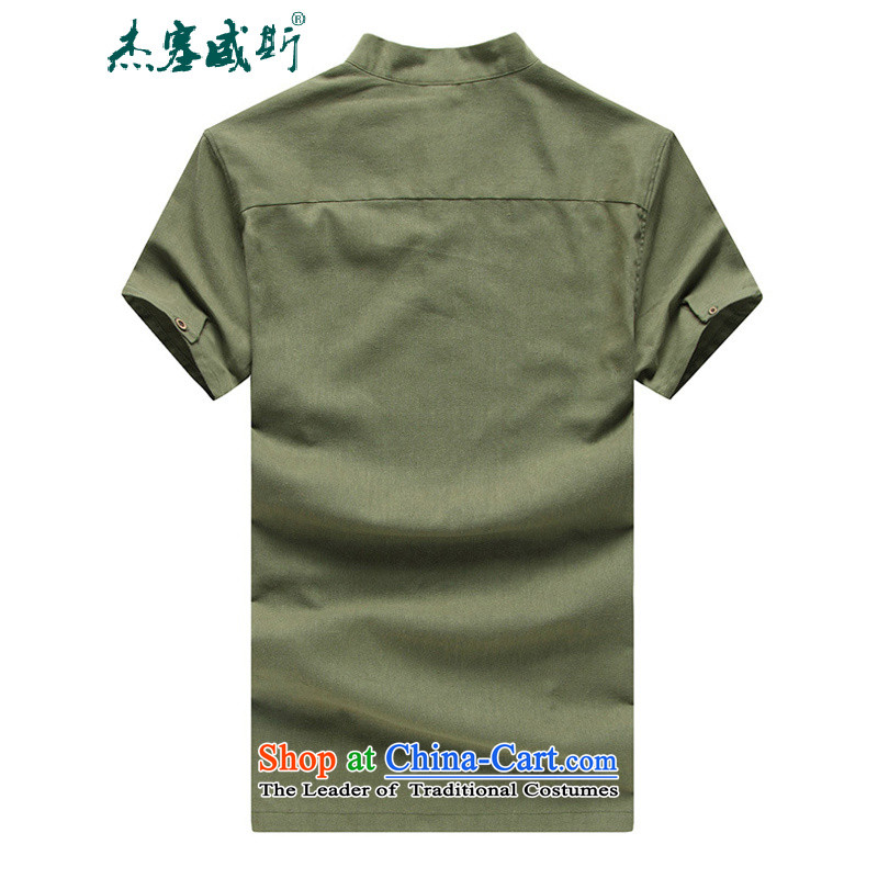 C.o.d. Jie in the summer of men linen short-sleeved large relaxd thin cotton linen collar short-sleeved shirt with beige聽, Tang Jie in Wisconsin, , , , shopping on the Internet