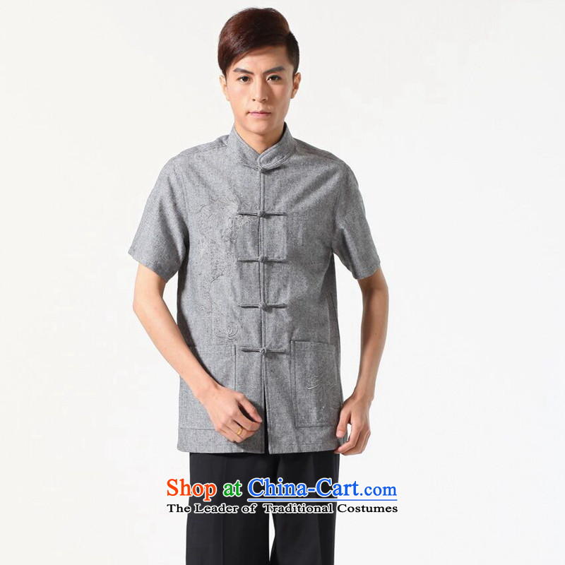 Figure for summer flowers new men short-sleeved Tang Dynasty Chinese Mock-Neck Shirt cotton linen embroidered dragon pure color breathable men and Tang dynasty�-A dark�XL