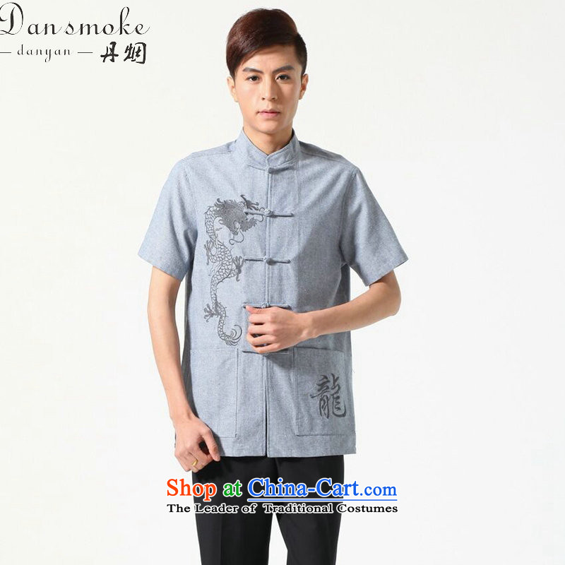 Dan smoke summer new men short-sleeved Tang Dynasty Chinese Mock-Neck Shirt cotton linen embroidery dragon pure color breathable original male Tang dynasty light?2XL